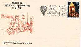 Indien Brief Zur Myphil 1977 - Mysore, Universität, Bildung - Education, Cover - Indien