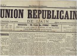 15 Mars 1908 : L 'UNION REPUBLICAINE De L'AIN  ( Infos Locales Et Nationales) - Journaux - Quotidiens