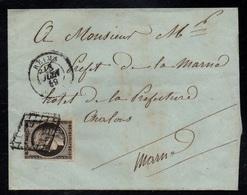 REIMS - MARNE / 18-6-1849 - # 3 - 20 C. NOIR SUR LSC POUR CHALONS (ref 5707) - 1849-1850 Cérès