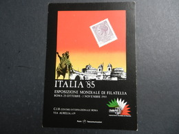 19943) ROMA ESPOSIZIONE MONDIALE FILATELIA ITALIA 1985 VIAGGIATA 1985 - Expositions