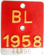 Velonummer Basel-Land BL 58 - Plaques D'immatriculation