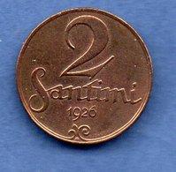 Lettonie  -  2 Santimi 1926     Km #  2  -  état  TTB - Lettland