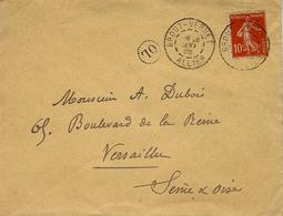1908- Enveloppe Affr. 10 C Semeuse Oblit. Cad A De BROUT-VERNET / ALLIER +  O L Dans Un Cercle Pointillé - 1877-1920: Periodo Semi Moderno