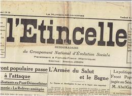 LOT :L ETINCELLE ( 2 ème Année N° 12; N°39 EtN° 40  ) De Fevrier 1937 (3 Scans ) FORT DE FRANCE -MARTINIQUE - Journaux - Quotidiens