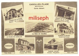 C.P. Publicitaire Pour: CAROLLES-PLAGE - Manche - La Baie Et Divers Magasins - Editeur  Advert - Paris     (4499) - Avranches