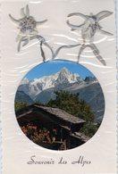 CPA Avec Edelweiss Véritables - + Ajouts Papier (Paysage) Souvenir Des Alpes - Cartes Postales