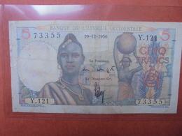 AFRIQUE FRANCAISE 5 FRANCS 1950 CIRCULER-BELLE QUALITE (B.3) - Senegal