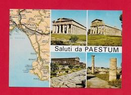 CARTOLINA NV ITALIA - Saluti Da PAESTUM - Cartina Vedutine Multivue - 10 X 15 - Saluti Da.../ Gruss Aus...