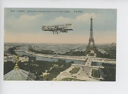 Paris La Tour Eiffel : Aéroplane évoluant Autour De La Tour Eiffel (transport Aviation) N°3219 - Tour Eiffel