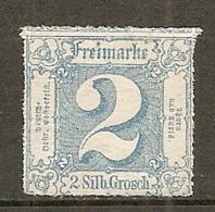 T Et T - Yv. N° 24 Mi. N°39 Percé En Lignes Blanches   *  2s  Bleu Etats Du Nord Cote  2 Euro  TBE  2 Scans - Thurn Und Taxis