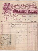 VP15.137 - Facture - Manufacture De Bronzes D'Eclairage . Gaz - Charles BLANC à PARIS Bd R. Lenoir - Electricity & Gas