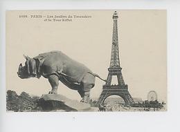 Paris La Tour Eiffel Et Les Jardins Du Trocadéro :  Rhinocéros Alfred Jacquemart (cp Vierge N°4099) - Eiffelturm
