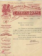 VP15.138 - Lettre - Manufacture De Bronzes D'Eclairage / Lampes - Torches .... Charles BLANC à PARIS Bd R. Lenoir - Electricity & Gas
