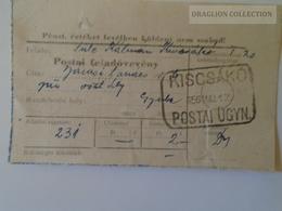 KA406.10 Hungary  Bon De Expedition - KISCSÁKÓ Postai ÜGYN. 1956 - Old Paper