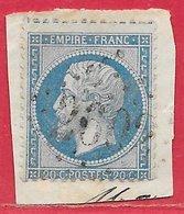 France N°22 Napoléon 20c Bleu (GC 2602 Nantes) 1862 O - 1862 Napoleone III
