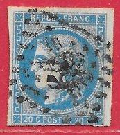 France N°45A Cérès Type Bordeaux 20c Bleu (GC 99 Angers) 1870 O - 1870 Emission De Bordeaux