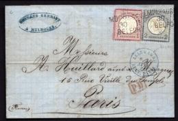 LETTRE ALSACE-LORRAINE OCCUPÉE- TIMBRAGE BICOLORE N°16-17- CAD AMBULANT 3 LIGNES- 1873 - 2 SCANS + INFO - Marcofilia (sobres)