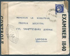 1942 Uzerche (English + French) Censor Cover - The French Hospital, Shaftesbury Avenue, London (Covent Garden Hotel) - France
