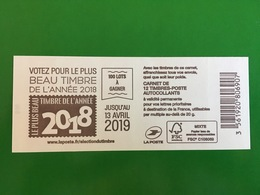 (2019) - Carnet 12 VP / Lettre Prioritaire - Votez Pour Le Plus Timbre De L'année 2018 - 2018-... Marianne L'Engagée