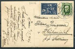 1926 Praha Nocturno Postcard Charity Seal - Czechoslovakia
