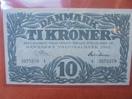 """DANEMARK 10 KRONER 1948 PREFIX """"T"""" ASSEZ RARE- CIRCULER  (B.3) - Danimarca"""