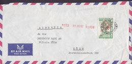 Paraguay Air Mail Par Avion ASUNCIÓN 1963 Cover Letra DEUTSCHE BANK, KÖLN Germany Rotem Aufdruck Neuen Wert - Paraguay