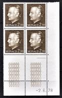 MONACO 1978 BLOC DE 4 TP  N°1145 - COIN DE FEUILLE / DATE / NEUFS** - Monaco