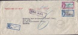 Bahamas Registered Einschreiben Label NASSAU 1957 Cover Brief KÖLN Germany 4d. Waterskiingb & 2'6 Sh'p QEII Shipbuilding - Bahamas (...-1973)