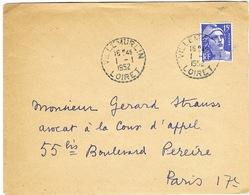 AFFRANCHISSEMENT 1ER JANVIER 1952 RECETTE DISTRIBUTION VILLEMURLIN LOIRET SUR DEVANT - Marcophilie (Lettres)