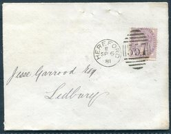 1881 GB Hereford 357 Duplex Cover - Ledbury. Herefordshire Philarmonic Society, Violin Music - Briefe U. Dokumente