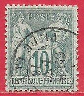 France N°65 Sage 10c Vert (type I N Sous B) 1876 (8 DEC 76) O - 1876-1878 Sage (Type I)