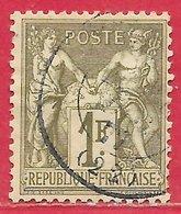 France N°72 Sage 1F Bronze (type I N Sous B) 1876 O - 1876-1878 Sage (Typ I)