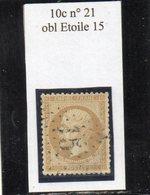 Paris - N° 21 Obl étoile 15 - 1862 Napoléon III