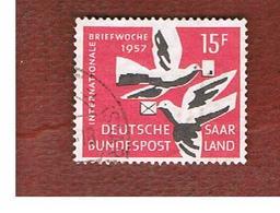 SAAR (SARRE) - SG 405 - 1957  INTE. CORRSPONDENCE WEEK, DOVES     - USED - 1957-59 Federazione