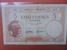NOUMEA/INDOCHINE 5 FRANCS 1926 BONNE QUALITE (B.3) - Indochine