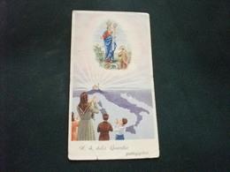 SANTINO HOLY PICTURE IMAGE SAINTE NOSTRA SIGNORA DELLA GUARDIA PER LA PATRIA STRAPPETTO IN FONDO - Religione & Esoterismo