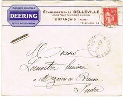 ENVELOPPE  A EN-TETE MACHINES AGRICOLES DEERING ETS BELLEVILLE BUZANCAIS INDRE - Marcophilie (Lettres)