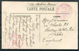 WW1 France Wimereux Postcard - Redcar Yorkshire. Censor, British Red Cross & Order Of St John, Base Post Office - France