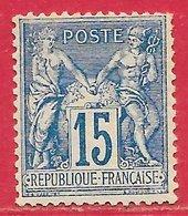France N°101 Sage 15c Bleu (papier Quadrillé) (type II N Sous U) 1892 * - 1876-1898 Sage (Type II)