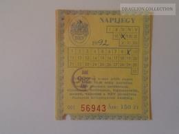 KA406.23 Monthly Ticket  - BKV   Hungary  Budapest  - 1992 - (local Train, Bus, Trolleybus, Tram, Funiculare, Subway) - Europe