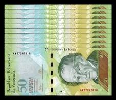 Venezuela Lot Bundle 10 Banknotes 50 Bolivares 2015 Pick 92k SC UNC - Venezuela