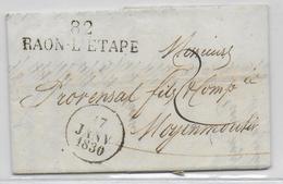 1830 - VOSGES - LETTRE De RAON L'ETAPE Avec MARQUE LINEAIRE => MOYENMOUTIER - IND10 - 1801-1848: Précurseurs XIX