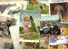 Lot 1791 De 10 CPA Fantaisies Animaux Divers Position Humaine Habillé Déstockage Pour Revendeurs Ou Collectionneurs - Cartoline