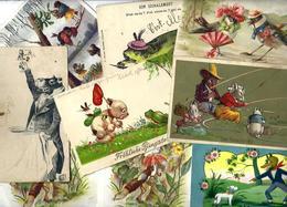 Lot 1792 De 10 CPA Fantaisies Animaux Divers Position Humaine Habillé Déstockage Pour Revendeurs Ou Collectionneurs - Postcards