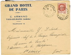 ENVELOPPE  A EN-TETE GRAND HOTEL DE PARIS C ARMAND VALS LES BAINS - Marcophilie (Lettres)