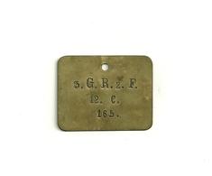 Plaque D'identification Militaire Allemande /Prusienne Model 1878 En Laiton - Equipement