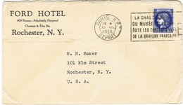 ENVELOPPE  A EN-TETE FORD HOTEL ROCHESTER NY - Marcophilie (Lettres)