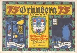 75 Pfg. Notgeld Grünberg I/ Schl. VF/F (III) - Lokale Ausgaben