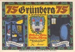 75 Pfg. Notgeld Grünberg I/ Schl. AU/EF (II) - Lokale Ausgaben