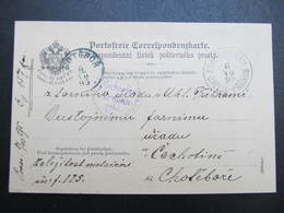 KARTE Kohle Pribram Uhelna Pribram - Cahotin Chotebor 1895 Portofrei  /// D*38777 - Briefe U. Dokumente